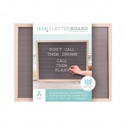 LETTER BOARD MADERA NATURAL Y GRIS 20 X 16