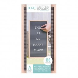 LETTER BOARD MADERA NATURAL Y GRIS 10 X 20